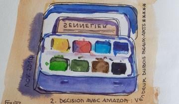 """Mini boîte d'aquarelle 8 godets, ouverte. A l'envers du couvercle, transparent, on lit """"SENNELIER"""" à l'envers. Signé BR entre chevrons et daté NOV. 2014 à gauche. Texte """"#UX 1. RECHERCHE SUR GOOGLE IMAGE 2. DECISION AVEC AMAZON : VENDEUR DUBOIS BEAUX-ARTS ***** 3. ACHAT SUR PLACE CHEZ DUBOIS"""