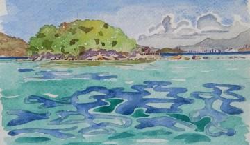 """La mer au 1er plan puis l'île de Mamutik recouverte de végétation. Au fond à droite, on aperçoit les tours de Kota Kinabalu. Texte : """"MAMUTIK & KK - 7.01.2010"""". Signé BR."""