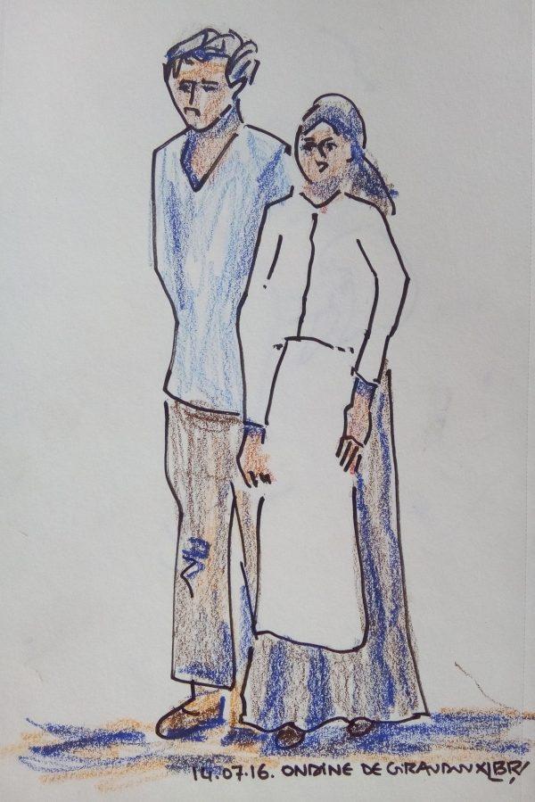 """Un homme et une femme de la campagne, debout, elle en tablier, lui portant une blouse. Texte """"14.07.16. Ondine de Giraudoux"""" Signé BR"""