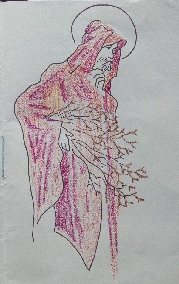 Vieil homme auréolé, de profil, portant des branchages et enveloppé dans un manteau rouge.