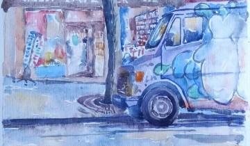 """Au premier plan, une camionnette taggée, garée devant la librairie. La librairie est visible au second plan. Texte : """"LIBRAIRIE L'ATELIER LITTERATURE ESSAI 28.11.2015"""". Signé BR."""
