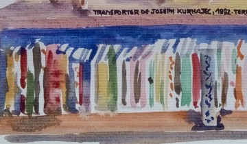 """Gros plan sur un élan en céramique posé sur un rayonnage de bibliothèque. Texte """"LIBRAIRIE-GALERIE TERRES D'ALIGRE. 5 RUE DE PRAGUE. PARIS 12eme 24.11.2015 CERAMIQUE CONTEMPORAINE. TRANSPORTER DE JOSEPH KURHAJEC, 1992. TERRE ET BOIS"""". Signé BR."""