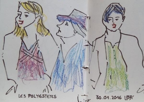 """Trois femmes, en buste, chantant, dont l'une de profil avec un chapeau. Texte """"LES POLYESTERS 30.01.2016"""". Signé BR."""