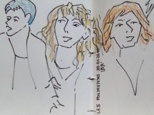 """Trois femmes chantant avec cheveux coloriés. Texte """"LES POLYESTERS 30.01.2016"""". Signé BR."""
