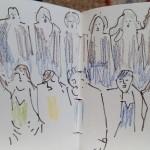 Esquisse des 12 chanteuses des Polyesters.
