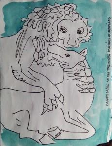 """Lion dévorant un cheval. Texte """"CAMPOSANTO UN DES PREMIERS MUSEES EUROPEENS"""""""