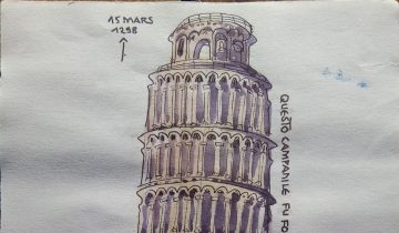"""La tour de Pise. Texte """"PRIMI TRE ORDINI ->1190 -> 15 MARS 1298. QUESTO CAMPANILE FU FONDATO NEL MESE D'AGOSTO DELL'ANNO DEL SIGNORE 1173. PISE IX MARS 2014. VISITE DE LA TOUR A 4 HEURE"""""""