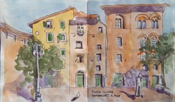 """Façades de maisons et palais italiens en plein soleil. Réverbère, pigeon, personnage. Texte """"PIAZZA GAMBACORTI A PISE"""""""