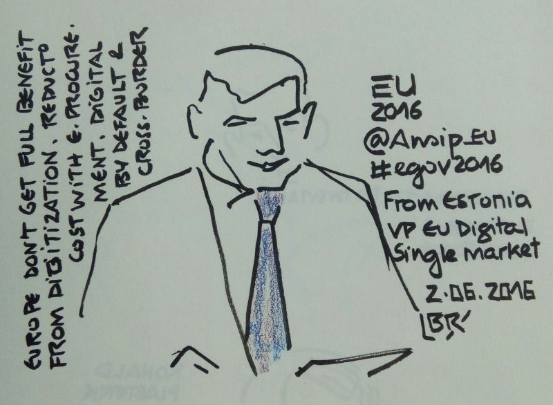 "Homme en buste avec cravate. Texte ""Europe don't get full benefit from digitization. Reduction cost with e-procurement. Digital by default & cross-border. EU 2016 @Ansip_eu #egov2016 from Estonia VP EU Digital Single Market 2.06.2016"" Signé BR"
