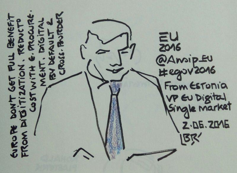 "Homme en buste avec cravate. Texte ""Europe don't get full benefit from digitization. Reduction cost with e-procurement. Digital by default & cross-border. EU 2016 @Ansip_eu #egov2016 from Estonia VP EU Digital Single Market 2.06.2016"" Signé BR"