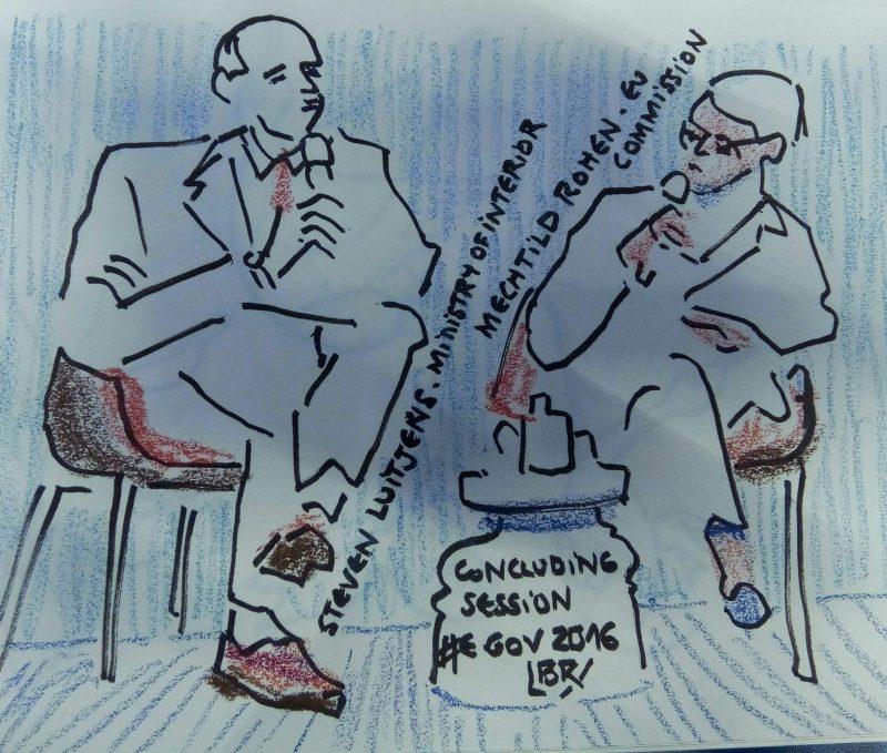 """Un homme et une femme assis parlant dans des micros. texte """"Steven Luitjens. Ministry of Interior. Mechtild Rohen EU Commission. Concluding session. #egov2016"""" Signé BR"""