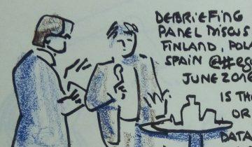 """Quatre personnes debout parlant devant un public que l'on ne voit pas. 2 tables hautes de cafétéria avec des bouteilles et verres dessus. Texte """"CIO panel discussion Finland, Poland, Spain #egov2016. June 2016. Is there or not chief data officer in Government like in US & in France ?"""" Signé BR"""