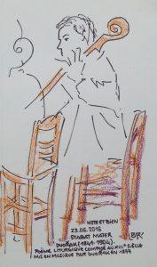 """Femme assise de profil, jouant du violoncelle. Texte """"Note et Bien 23.06.2016 Stabat Mater Dvorak (1841-1904) Poème liturgique composé au XIIIème siècle mis en musique par Dvorak en 1877"""" Signé BR"""