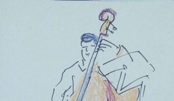 """Joueur de contrebasse. Texte """"Lucas à la contrebasse. 23.06.2016. @NoteEtBien"""" Signé BR"""