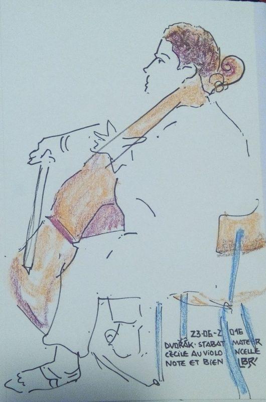 """Femme tournée vers la droite jouant au violoncelle. Texte «23.06.2016 Dvorak Stabat Mater Cécile au violoncelle Note et bien"""" Signé BR"""