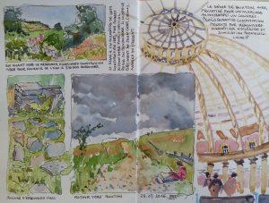 3 vignettes aquarellées représentant des chemins de campagne. Une esquisse partielle du dôme de Buxton remplissant le reste de la double page. Légendes des vignettes, signé BR.