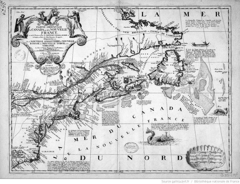 Carte ancienne de la nouvelle France (Canada)