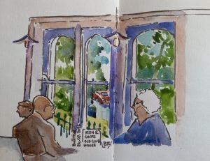"""Intérieur d'un pub. 3 baies ouvrant sur de la verdure et une voiture rouge. 2 personnes âgées attablées. Texte """"Buxton 24.07.2016. Fish & Chips. Old Club House"""" Signé BR"""
