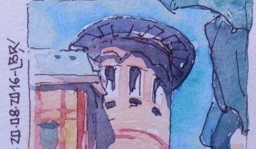 """Tour et bâtiments en extérieur. Ciel bleu. Parasol et personnages en bas de l'image. Texte «1ère rencontre avec les Urban Sketchers de Paris au Crédit municipal. 20.08.2016"""". Signé BR."""