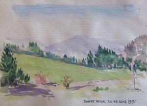 """Paysage de prairie et de forêts de sapins au printemps. Soleil et ombre. Moyennes montagnes en arrière plan. Texte """"Sankt Peter 24.03.2017"""" Signé BR."""