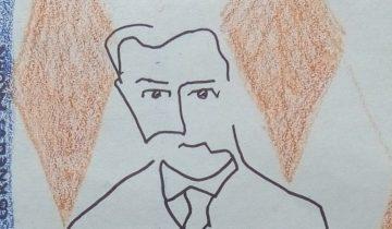 """Homme en pied de face. Dallage et mur du fond avec motif de losange orange, mur de gauche bleu. Texte """"Sergueï Chtchoukine, 1916 par Constantin Cornelius Krohn"""""""