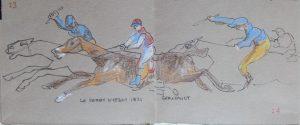 Le Derby d'Epsom de Géricault. Crayons de couleur et feutre, février 2017. Bénédicte Roullier