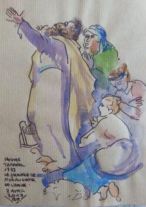 """Homme debout de profil, les mains levées au ciel. 3 femmes derrière lui. Texte """"Hugues Taraval 1783 Le sacrifice de Noé au sortir de l'arche. 2 avril 2017"""" Signé BR"""