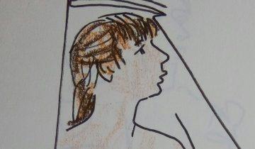 """Jeune fille de profil. Texte """"Peau d'âne par la compagnie La Savaneskine. 14 juillet 2017"""" Signé BR"""