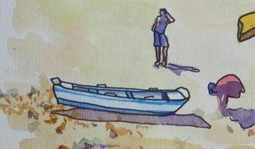 """Bateau échoués sur la grève, quelques personnes. Texte """"Sur le port, 10 août 2017"""" Signé BR"""