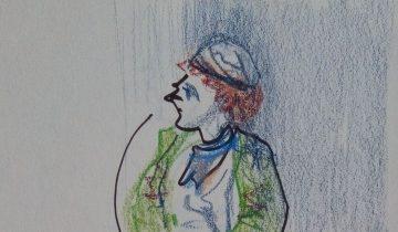 """Homme en pied, la tête tournée vers la gauche, avec un bonnet et un long manteau vert. Texte """"On me désosie comme on vous désamphitryonne. Pourtant quand je me tâte, il me semble que je suis moi. Nicolas Vaude joue Sosie @PocheMparnasse 20 OCT 2017"""" Signé BR"""
