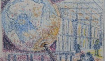 """Énorme globe terrestre sur son axe avec quelques personnages. Texte """"58ème sketchcrawl à la BNF #uskparis. Les globes de Coronelli réalisés entre 1681 et 1683 pour être offerts à Louis XIV par le cardinal d'Estrées. Indes septentrionales, Amérique méridionale, ligne équinoctiale, nouvelle Hollande découverte en l'an 1644, océan Éthiopien ou méridional, mer des Cafres, mer de Nort... 27 janvier 2018"""" Signé BR"""