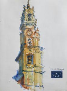 "Clocher de style baroque dans les tons ocres. Texte ""Tour de Clérigos""."