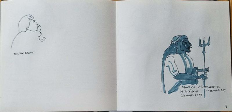"""1 personnage de profil, 1 dessin d'un dieu grec avec un trident. Texte """"Philippe Brunet. Chant XIII L'intervention de Poséidon. N° de vers : 509. 23 mars 2019"""