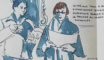 """2 femmes debout entrain de lire. texte """"Catherine Fournil. Dites moi O muses des olymiennes demeures. Hyperenor berger d'hommes. Le bronze au dedans fouilla les entrailles. Flèche (pour indiquer la page suivante) Chant XV. Batailles près des navires Achéens"""""""