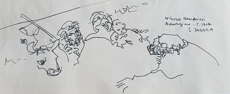 Croquis rapide d'une scène dans un tableau représentant l'adoration des mages.