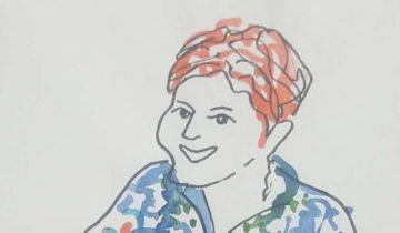 """Une femme de face, en couleur, les mains en avant. Texte """"Votre dos, je peux vous le réformer"""""""