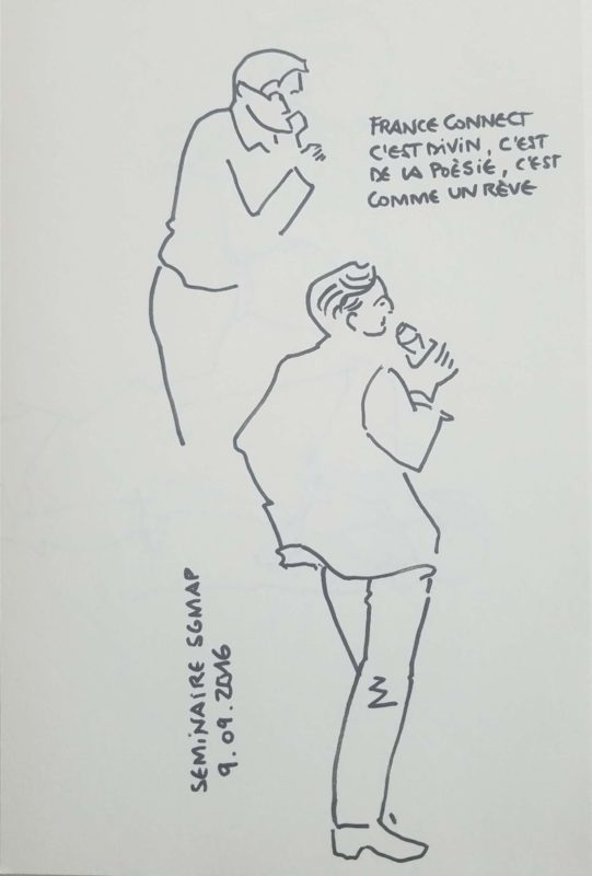 """En haut un home avec un micro dont le trait disparaît derrière un autre homme, au premier plan. Il est en pied de dos, la tête de profil, avec 1 micro. Texte """"France Connect, c'est divin, c'est de la poésie, c'est comme un rêve. Séminaire SGMAP, 9 septembre 2016"""""""