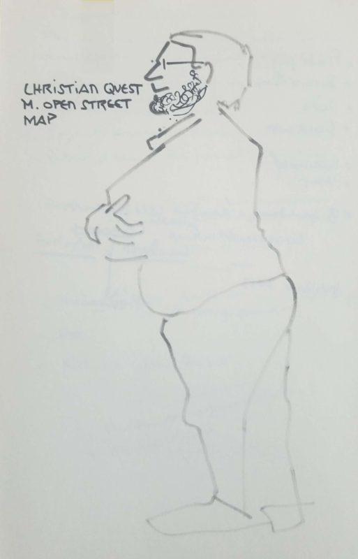 """Homme en pied de profil, les bras croisé, corpulent. Texte """"Christian Quest, M. Open Street Map"""""""