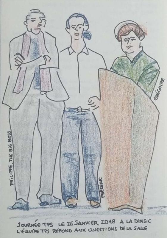 """Trois hommes de face dont un derrière un pupitre. Texte """"Philippe, the big boss. Journée TPS le 26 janvier 2018 à la Dinsic l'équipe TPS répond aux questions de la salle"""""""