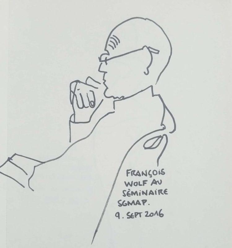 """Homme de profil écoutant. Texte """"François Wolf au séminaire SGMAP. 9 septembre 2016"""""""